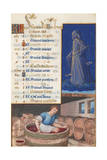 Virgo and Treading Grapes, Calendar for the Feast Days Celebrated in September, C.1500 Giclee Print by Jean Bourdichon