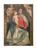 Madonna and Child Crowned by Two Angels, C.1530 Giclee Print by Girolamo Romanino