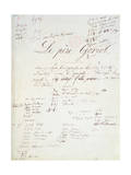 Manuscript Page of 'Le Pere Goriot' Giclee Print by Honore de Balzac