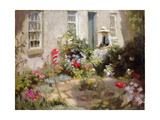 Woman Reading in a Garden Giclee Print by Harold Harvey