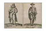 Merchants and Craftmens' Clothing, Taken from Outfits of Venicen Men and Women Giclee Print by Giacomo Franco