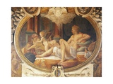Danae Receiving Jupiter in Form of Golden Rain Giclée-tryk af Francesco Primaticcio