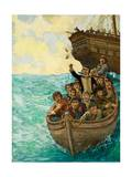 Captain Bligh and the Few Being Cast Adrift Giclee Print by Kenneth John Petts