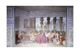 Trajan Dismissing His Armed Guard in Conspirator Licinius Sura's House, 1820 Giclee Print by Luigi Ademollo
