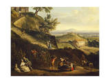 View of Dijon from Daix, France Grape Pressing, Detail Giclee Print by Jean-Baptiste Lallemand