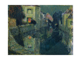 The Canal at Night Giclee Print by Henri Eugene Augustin Le Sidaner