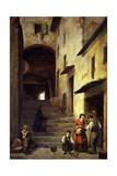 View of a Street in Sestri Levante, Riviera of Genoa, Ca 1863 Giclee Print by Giovanni Mochi