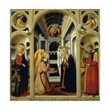 Annunciation Showing St Apollonia, St Luke and Prophets David and Isaiah Giclée-tryk af Neri Di Bicci