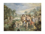 Romulus and Remus, Suckled by Wolf, Found by Faustulus on Banks of Tiber Giclee Print by Giuseppe Cesari