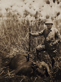 Col. Roosevelt Standing Beside a Water Buffalo Which He Has Shot Photographic Print by Kermit Roosevelt
