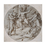 The Contest of Apollo and Marsyas with King Midas Protesting the Judgment of Mount Tmolus Giclee Print by Heinrich Aldegrever