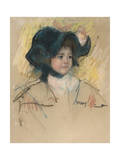 Head of Simone in a Green Bonnet with Wavy Brim Giclee Print by Mary Cassatt