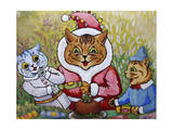 Three Cats and Plum Pudding, C.1935 Giclee Print by Louis Wain