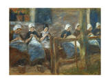 Girls Sewing in Huizen Giclee Print by Max Liebermann