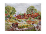 Village with Stream, C.1935 Giclee Print by Louis Wain