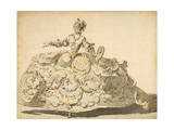 Lady with Elaborate Crinoline, 1780-1810 Giclee Print by Louis Rene Boquet