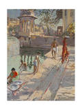 Udaipur Temple Bathing Giclee Print by Tim Scott Bolton