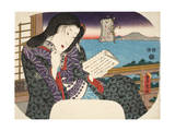 "A Beauty Reading a Book Whilst Seated on a Balcony, from ""Mitate Sugawara-Jima"" Giclee Print by Utagawa Kunisada"