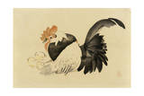 Rooster, Hen, and Chicks, Meiji Era, 1870-79 Giclee Print by Shibata Zeshin