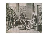 Spanish Conquerors Meeting Native Women in America, 1590 Giclee Print by Theodore de Bry