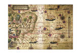 Map of Brazil, from Miller Atlas, Lopo Homen, Cartographers and Antonio De Holanda Giclee Print by Pedro and Jorge Reinel