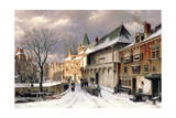 A View of a Dutch Town in Winter Giclee Print by Willem Koekkoek
