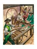 Workers Attack the Blackburn Home of James Hargreaves to Destroy His Invention, the Spinning Jenny Giclee Print by Peter Jackson