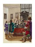King Charles I Arrives in the House of Commons to Arrest the Five Members of Parliament Giclee Print by Peter Jackson