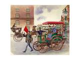 Early Car, with Man with a Flag Giclee Print by Peter Jackson