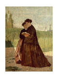Walking in Garden, 1864 Giclee Print by Silvestro Lega