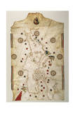 19th Century Copy of the Nautical Planisphere, 1500 Giclee Print by Juan de la Cosa