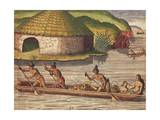 Florida Residents Take their Crops by Boat to the Storehouses from Admiranda Narratio Giclee Print by Theodore de Bry