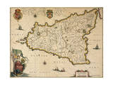 Map of Sicily Giclee Print by Willem Janszoon Blaeu