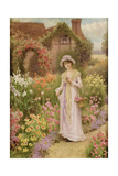 Girl by a Herbaceous Border Giclee Print by William Affleck