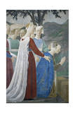 Detail from the Legend of the True Cross Showing Queen of Sheba in Adoration of Tree of Cross Giclee Print by  Piero della Francesca