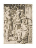 David Playing the Harp before Saul, C.1508 Giclee Print by Lucas van Leyden