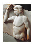 Greek Civilization, Relief Depicting Young Athlete Crowning Himself, from Cape Sounion, Greece Giclee Print