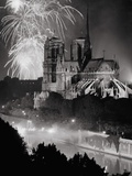View of Notre Dame under Firework Display Photographic Print