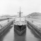 Ship Being Towed through First Lock of Panama Canal Photographic Print