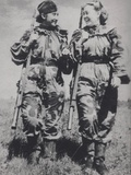 WW2 Soviet Women Snipers Wearing Camouflage Combat Suits Photographic Print