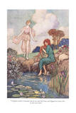 Stopping Beside a Fountain Giclee Print by Warwick Goble