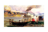 Steamboat on the Ohio, C.1900 Giclee Print by Thomas Pollock Anschutz