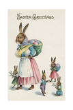 Easter Greetings Postcard with Rabbit Family Giclee Print by Paper Rodeo