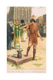 There before All the People, Arthur Pulled the Sword Out of the Stone Giclee Print by William Henry Margetson