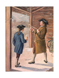 Illustration of Benjamin Franklin and Assistant Performing Lightning Experiment Giclee Print