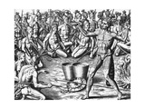 Florida Indians Saturibo War Council Giclee Print by Jacques Le Moyne