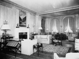 Living Room on Vanderbilt Yacht Photographic Print by Edwin Levick