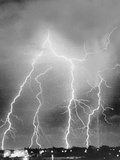 View of Four Bolts of Lightening Photographic Print