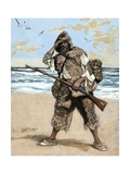 Robinson Crusoe Surprised to Find out the Footprint of a Bare Foot Giclee Print by  Tarker