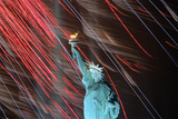 Fireworks Surrounding Statue of Liberty Photographic Print by Joe Polimeni